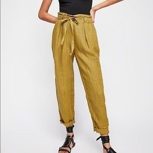 Free People Only Over You Linen Straight-leg Pant